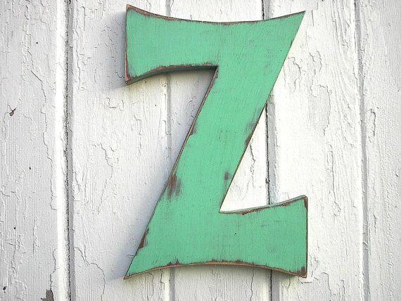 Houten Letter teken Z 12 inch groen verdrietig rustiek Shabby Chic Cottage cabine Decor