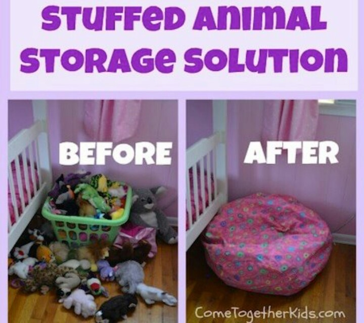 Stuffed animals can be stored in a empty bean bag. This maybe it!  Great idea as I'm not a fan of stuffed animals, but my kids refuse to get rid of!