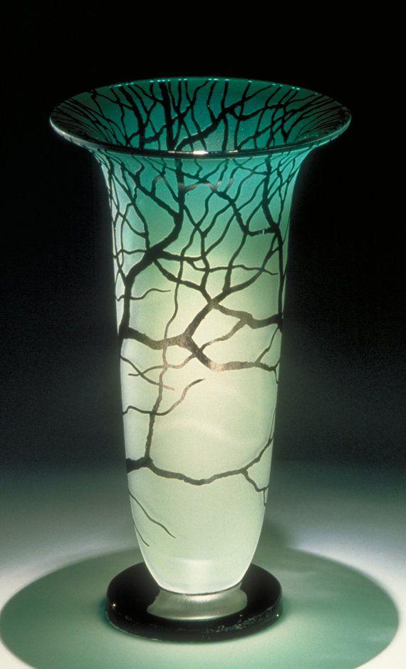 Jade Tree Vase Hand blown Glass Vase by KatzGlassDesign on Etsy, $700.00 Pricy...but B-E-A-Utiful!!!