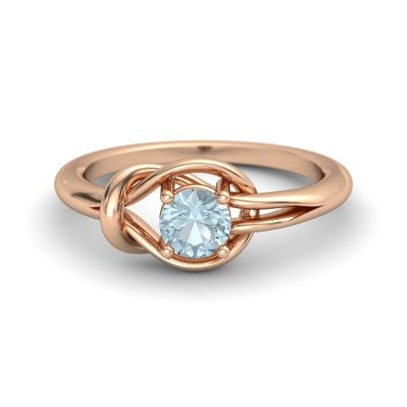 The Hercules Knot Ring customized in aquamarine and rose gold