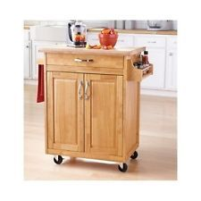 Kitchen Island Cart Storage - Wood Natural - Rolling Cabinet - got one like this at a garage sale for $15!