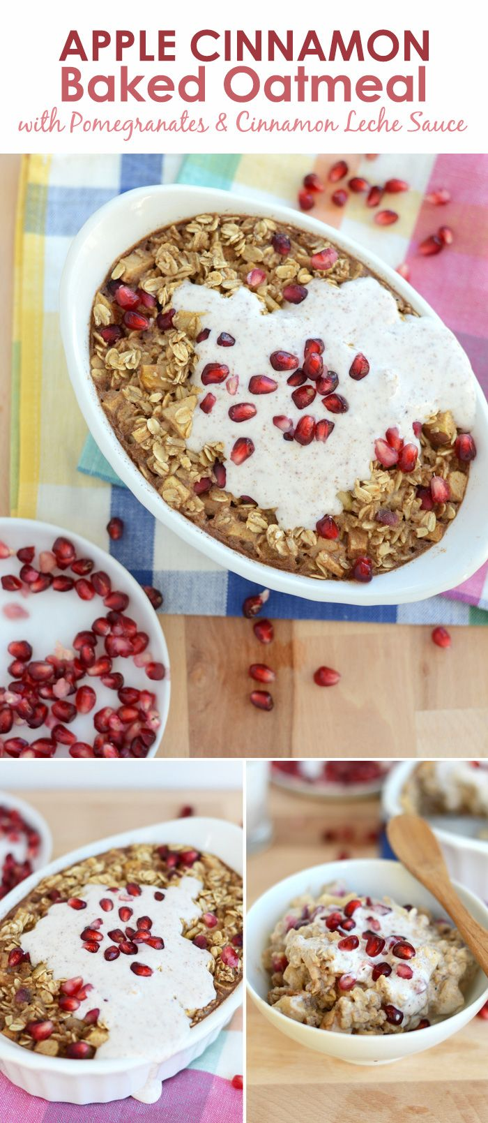 Apple Cinnamon Baked Oatmeal with Pomegranates and Cinnamon Leche Sauce | FitFoodieFinds.com