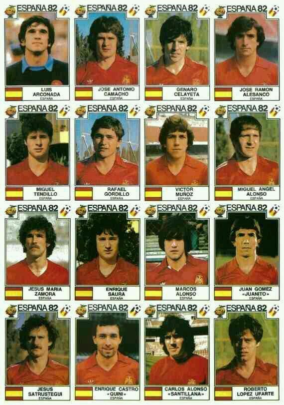 Spain team stickers for the 1982 World Cup Finals.