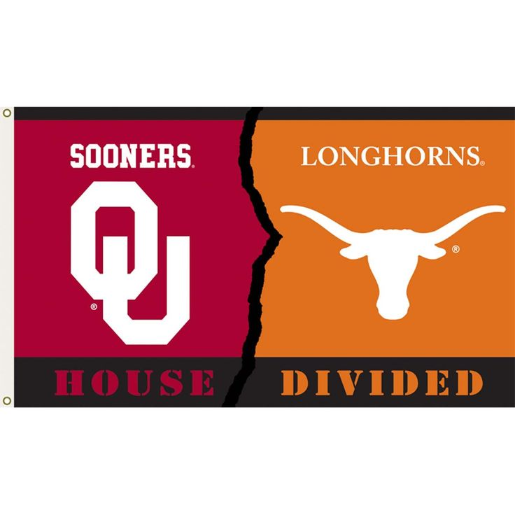 Texas Longhorns and Oklahoma Sooners: House Divided Flag; 3'x5'