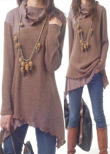 Asymmetric Hem Long Sleeve Cowl Neck Blouse, fall fashion, outfits, soft fabric and free shipping worldwide at rosewe.com