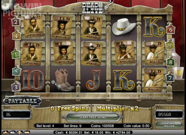 BigWinPictures.com: Money line on NetEnt's Dead Or Alive slot with max bet 18€!
