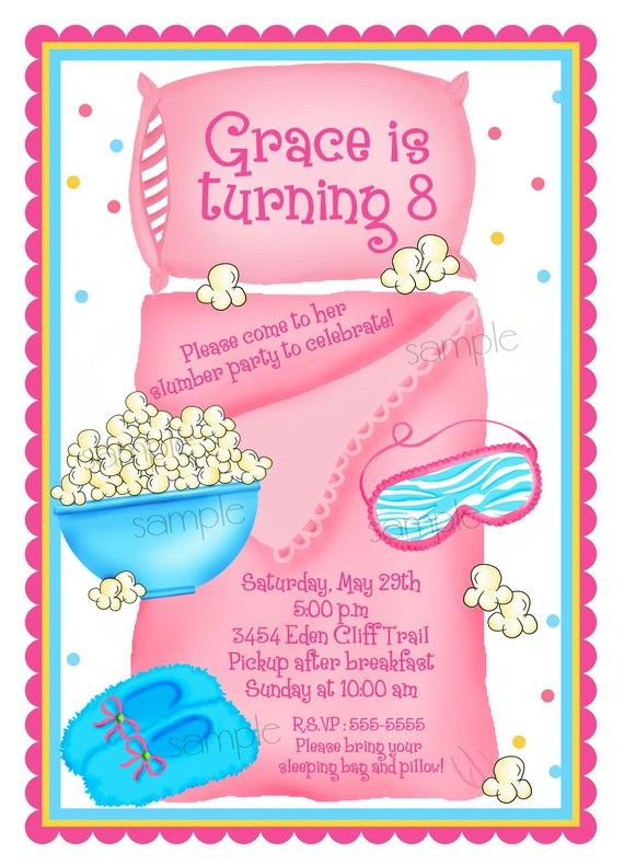 Sleepover invitations, Sleepover, Slumber Party, Personalized Invitations, Pajama Party, Birthday, Party, Girls, Kids, Children