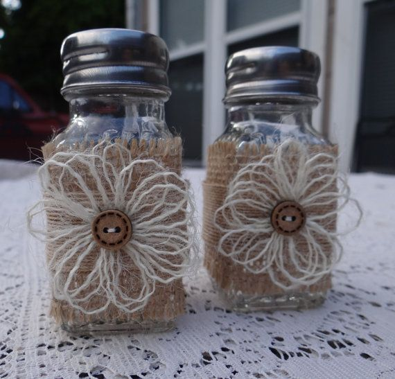 Burlap Flowers Salt & Pepper shakers---should do this since dd taught me how to make the flowers.