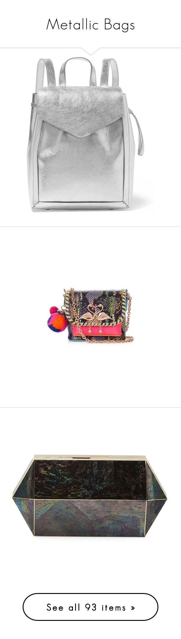 """Metallic Bags"" by nicefish ❤ liked on Polyvore featuring bags, backpacks, handbags, silver, zip bag, metallic bag, knapsack bag, loeffler randall bag, zipper bag and shoulder bags"