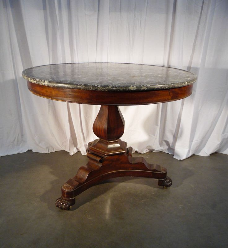 table guéridon acajou rond pied griffe 19eme sielces / round table mahogany 19th