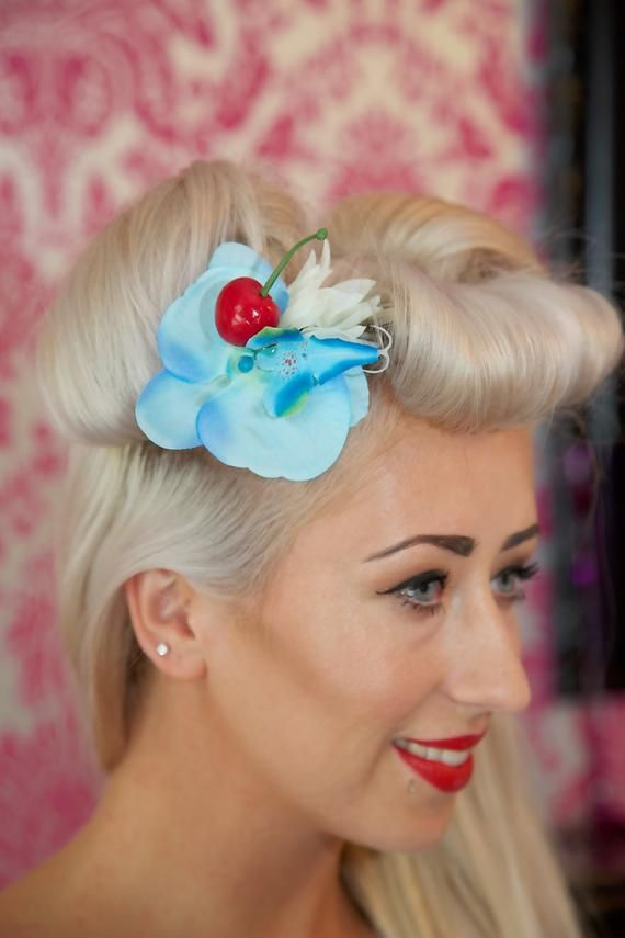 Blue Orchid Hair Flower With Cherry Blue Orchid Flower Flower Hair Accessories Flowers In Hair