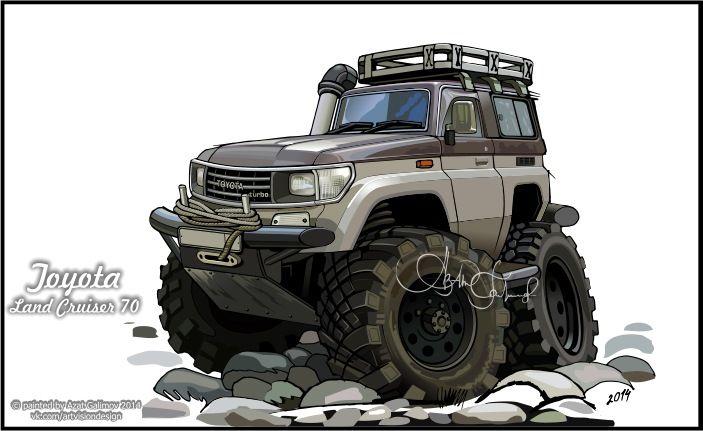 Pin by Anton Antipin on car toon | Art cars, Toyota land ... (703 x 431 Pixel)