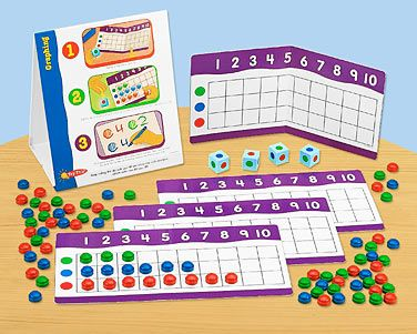 Lakeshore's Graphing Instant Learning Center makes independent practice a snap—children simply roll the dice to graph colorful counters right onto their mats!