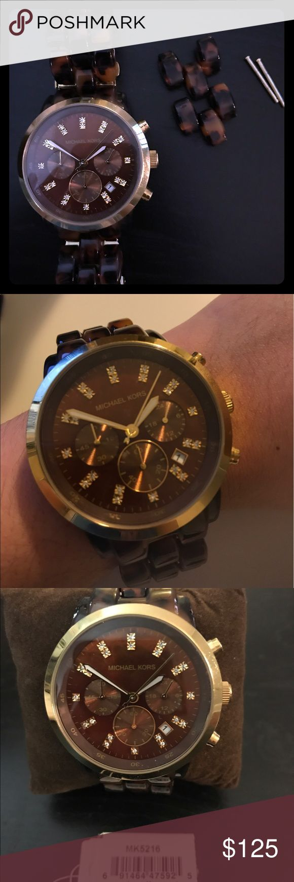 """Michael Kors MK5216 Tortoise Chronograph Watch Lightly worn however, the clasp works but gets jammed occasionally. It still opens and closes. Fits perfectly on a 6"""" wrist and includes two links for adjusting. Requires a battery change. MICHAEL Michael Kors Jewelry"""