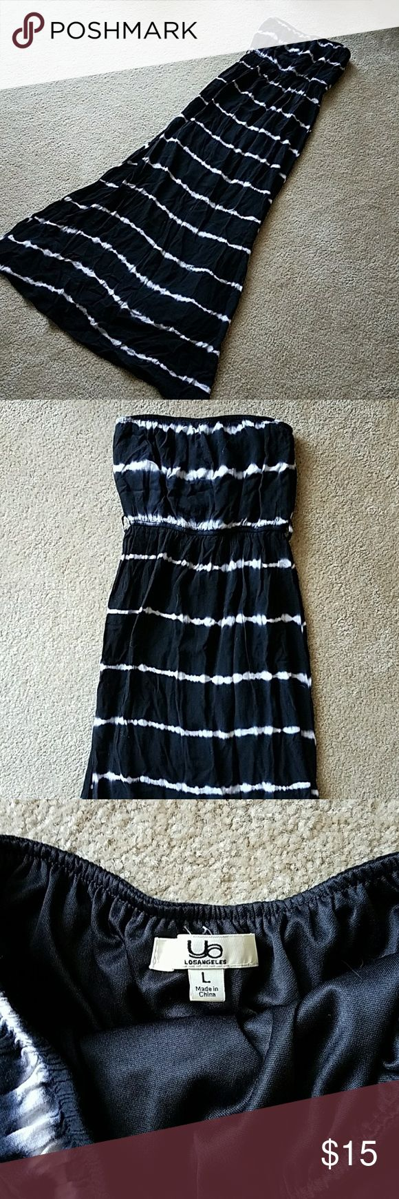 Black and white long dress Strapless dress from LA. Lined half way to the ground. Elastic waist for definition. Dresses Strapless