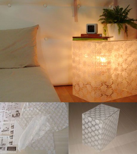DIY Beside Acrylic Lace Table/Lamp from ApartmentTherapy.com