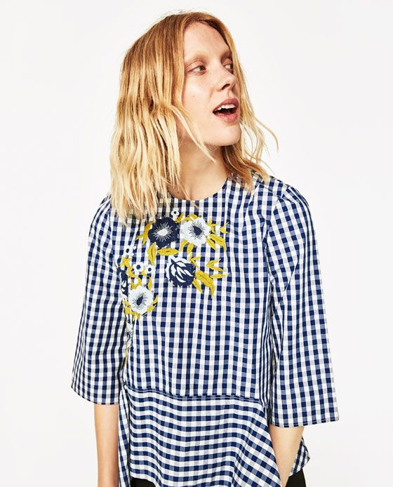 ZARA - WOMAN - EMBROIDERED GINGHAM TOP