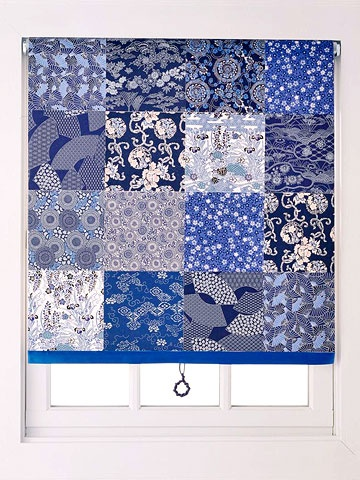 Origami paper squares are just right for dressing up a plain roller shade. Use squares from the same color family in a variety of patterns to create a grid.