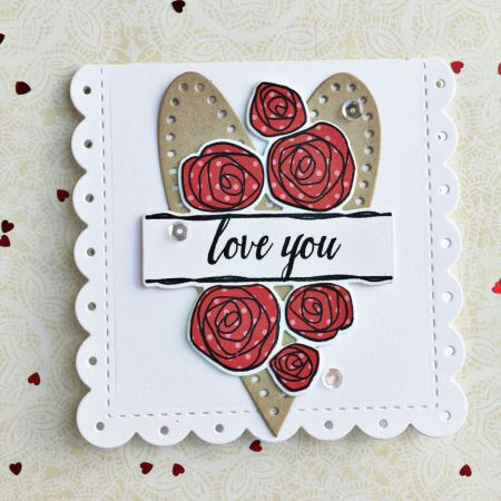 Love You Card by Heather Nichols for Papertrey Ink (December 2016)