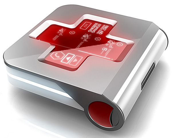 first aid 2.0 - kit with LED red cross panel with first aid instructions and GPS tracking system