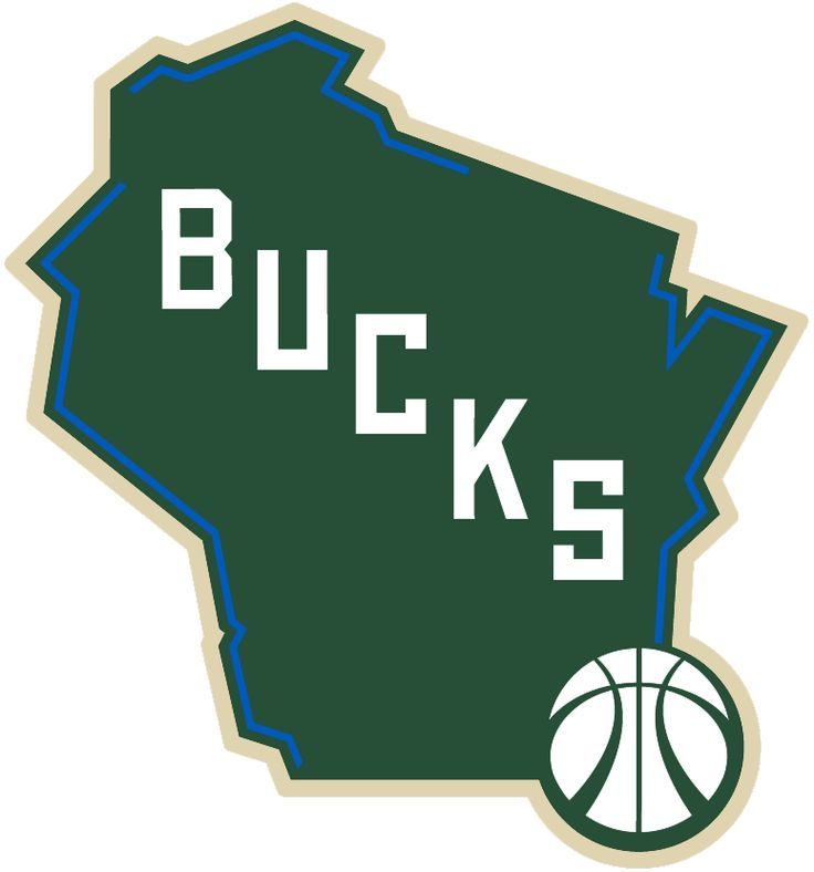 Milwaukee Bucks Alternate Logo (2016) - A map of the State of Wisconsin in green with cream trim, blue lines highlight the location of lakes and river borders. BUCKS running diagonally down with a basketball placed on the City of Milwaukee