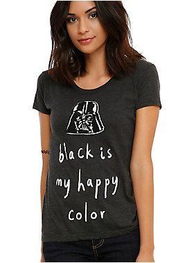 "<p>Fitted charcoal heather tee from <i>Star Wars</i> with Darth Vader design that reads ""black is my happy color.""</p>  <ul> <li>50% cotton; 25% polyester; 25% rayon</li> <li>Wash cold; dry low</li> <li>Imported</li> <li>Listed in junior sizes</li> </ul>"