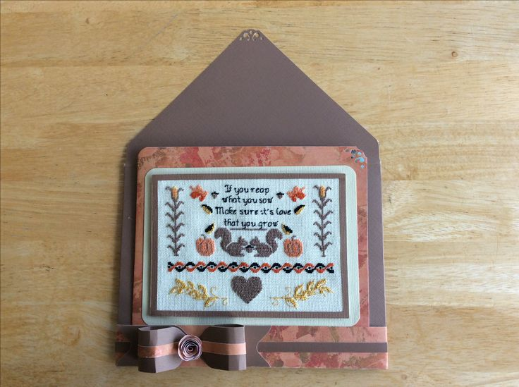 Thanksgiving Petit Point Made by Karen Miniaci. Envelope, Band and Bow made with Envelope Punch Board.