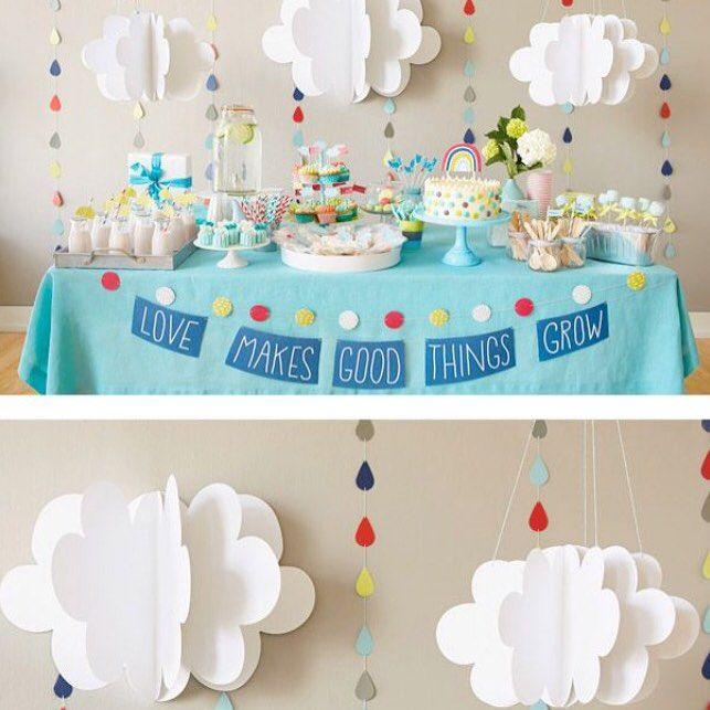 Fofura de decoração! Nuvem de papel é muito amor ❤️☁️ AMEI essa festa! Inspire-se!!  Pic via Pinterest  #decorefesta