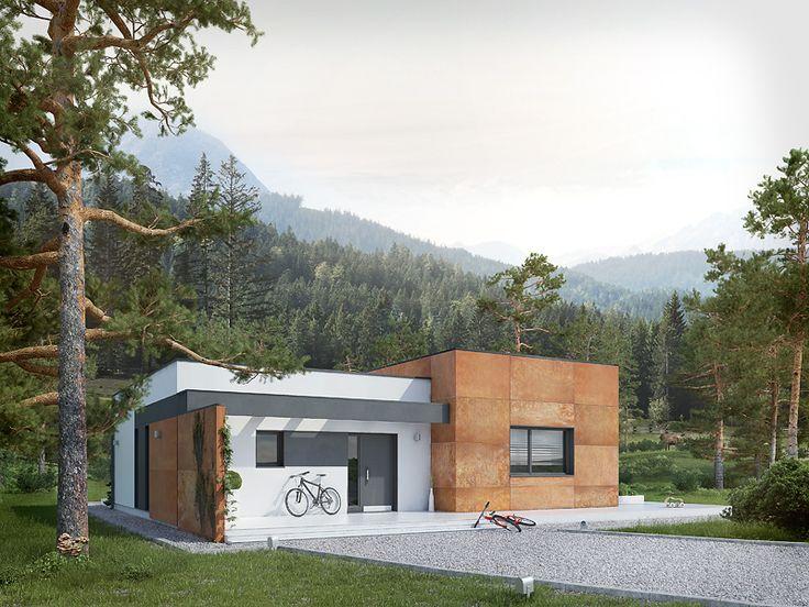Amika (91,03 m2) to nieduży dom parterowy o nowoczesnym charakterze. Pełna prezentacja projektu na stronie: https://www.domywstylu.pl/projekt-domu-amika.php.  #ambrozja #projekty #projekt #gotowe #typowe #domy #domywstylu #mtmstyl #home #houses #architektura #interiors #insides #wnętrza #aranżacje
