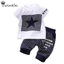 Baby boy clothes 2015 Brand summer kids clothes sets t-shirt+pants suit clothing set Star Printed Clothes newborn sport suits(China (Mainland))