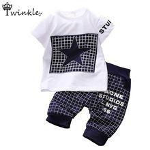 Baby boy kleding 2015 merk zomer kids kleding sets t-shirt + broek pak kleding set ster gedrukt kleding pasgeboren sport past(China (Mainland))