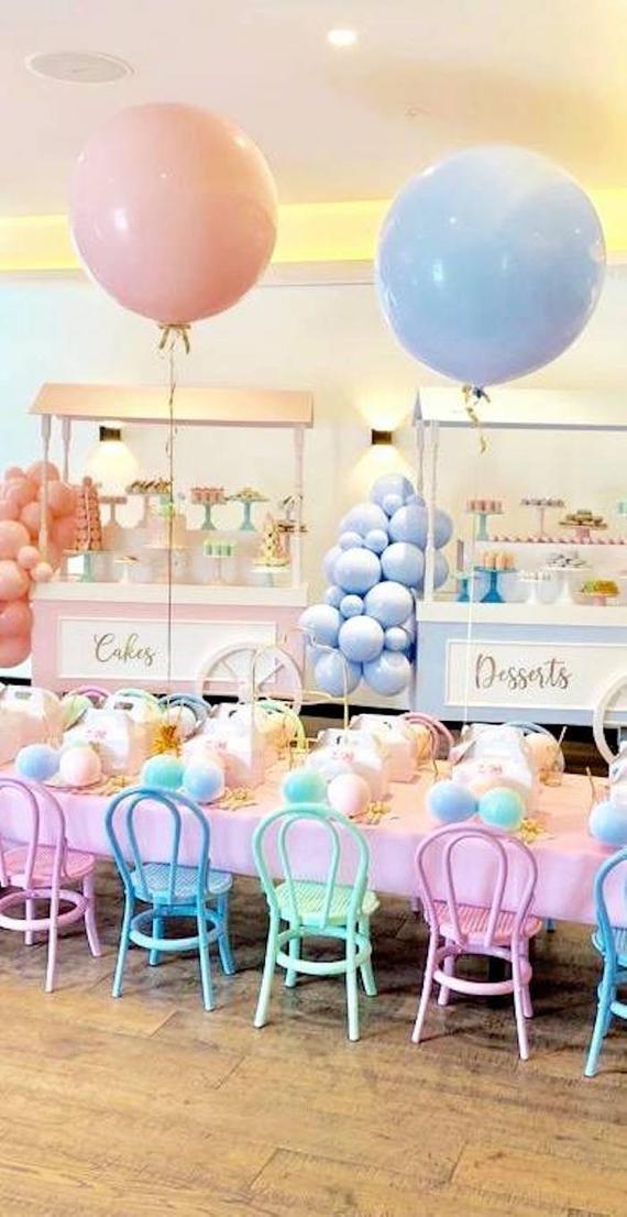 "36 Light Cream And Beige Living Room Design Ideas: 36"" Round Pastel Blue Balloon -3 Feet Blue Balloon, Pastel"