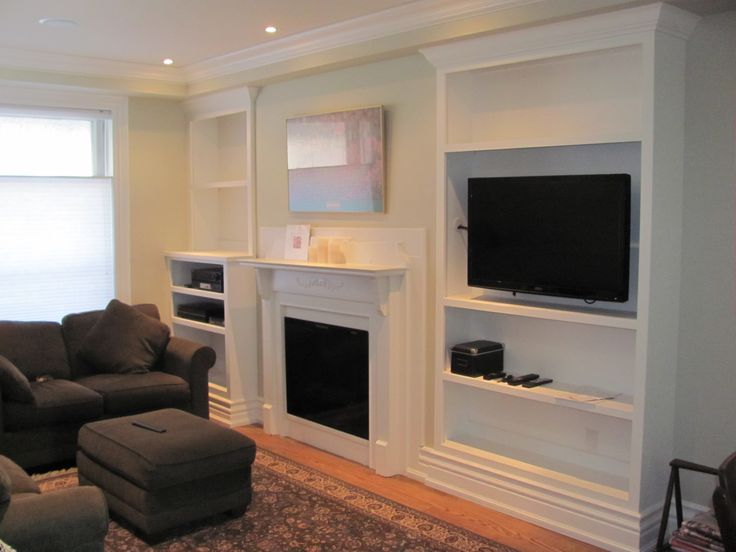 Built-in cabinets on either side of fireplace
