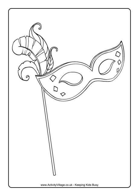 Mardi Gras mask colouring page