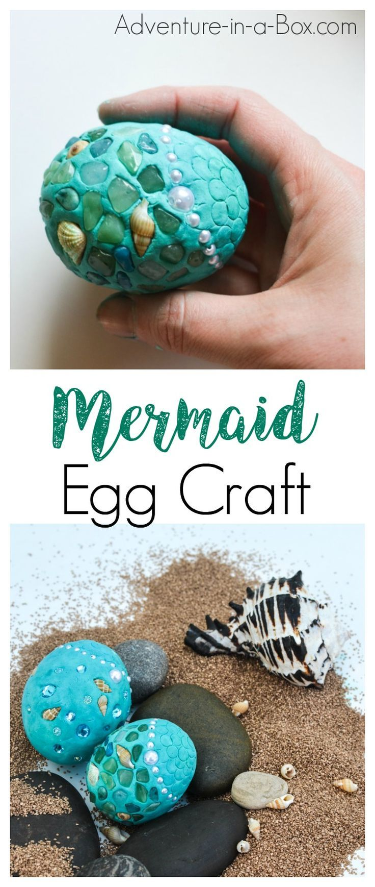 For all the mermaid fans, try this mermaid egg summer craft! Made of shells and beach glass, this craft is a good way to use up all the keepsakes from a seaside trip in a little fantasy-inspired creation.