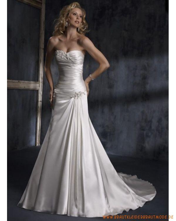 2010 Herbst Elegante weisse Brautmode aus Satin Schulterfrei Kristalle und Perlen sexy Korsage A-line lange Schleppe