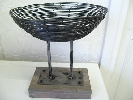 $20 BLACK WIRE DISPLAY BOWL on Timber STAND Home Storage 23x23cm Text 0411691171 or email info@bitspencer.com