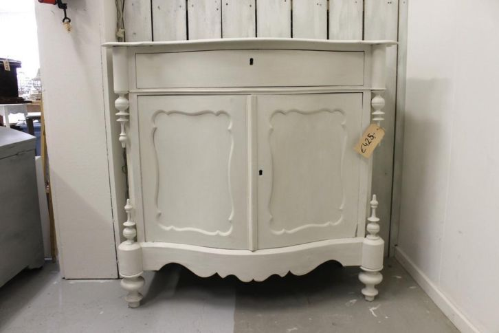 Biedermeier kast dressoir brocante wit
