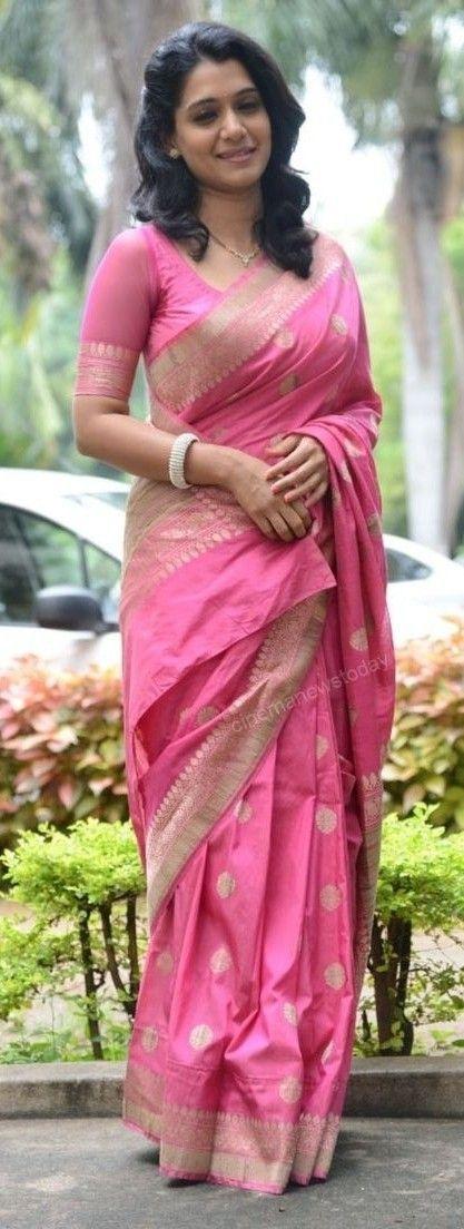 Pink tussar saree: