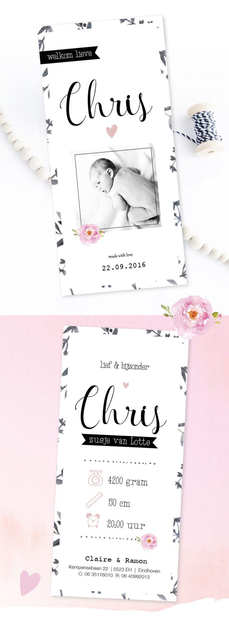 Lief geboortekaartje meisje met foto | ontwerp | bloem | waterverf | watercolor background | roos | roze | zwart wit | icoontjes | www.charlyfine.nl
