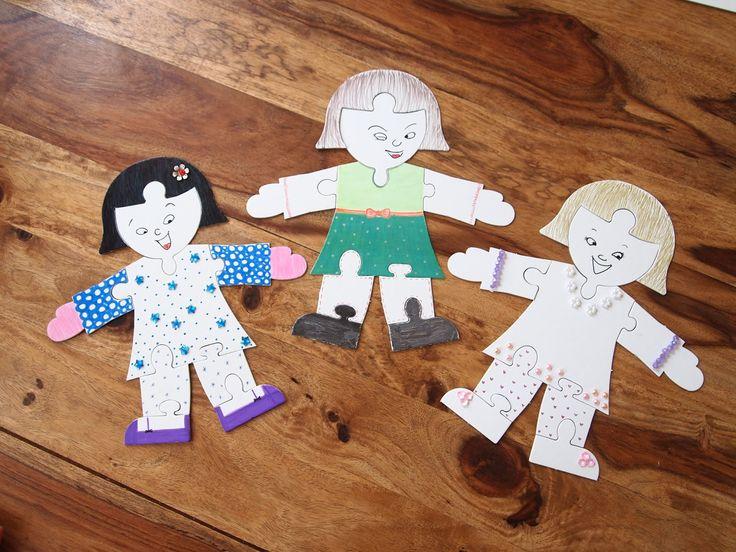 Puzzle, Figur, Anziehpuppe, Basteln mit Kindern, Ideen für Sommerferien, Projekte für Kinder,