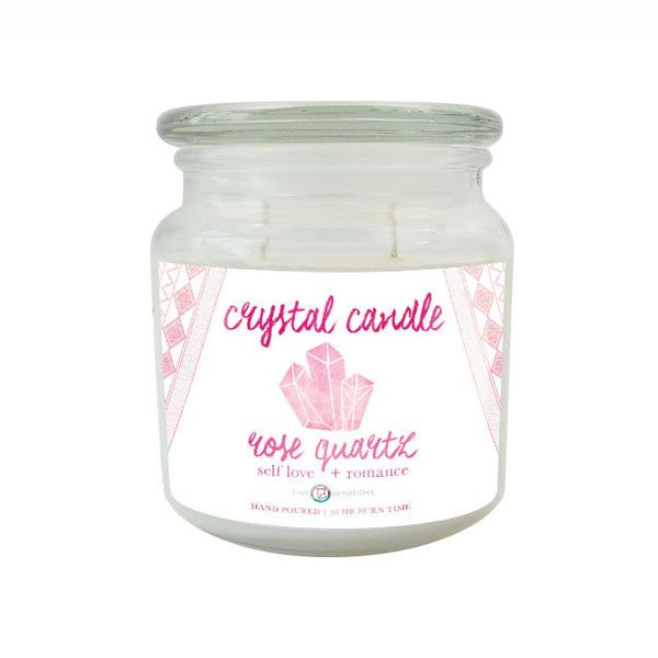 Rose Quartz Crystal Candle by Tiny Devotions