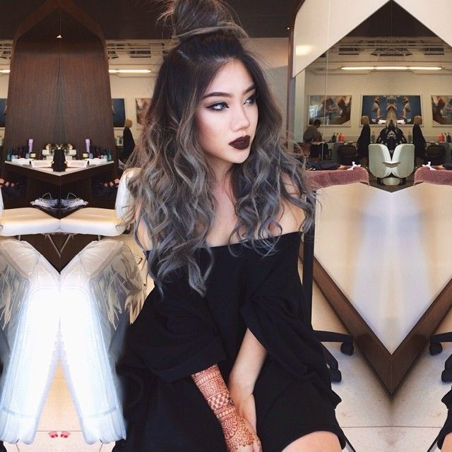 """""""Grey matter   colored and styled by @jesstheebesttcolor for the soirée last night   salem lip by @limecrimemakeup"""""""