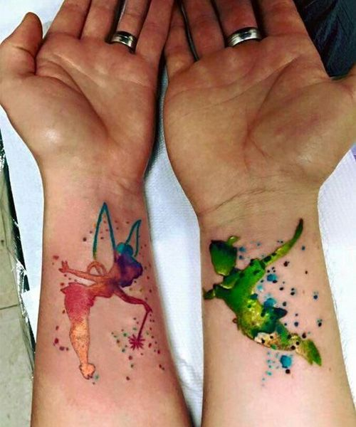 cute matching tattoos for couples on the wrist