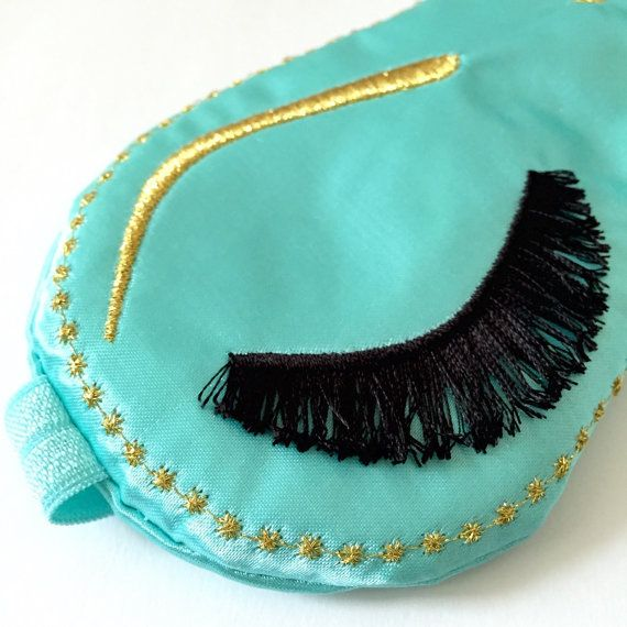 HOLLY GOLIGHTLY IV satin sleep eye mask Sleep mask with embroidered eyelashes Breakfast at Tiffany's Inspired Sleep Mask