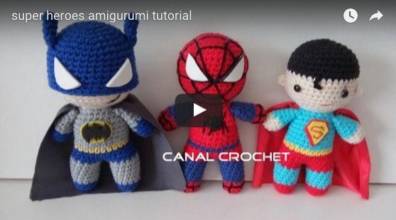 Patrón gratis amigurumi de superman, batman y spiderman