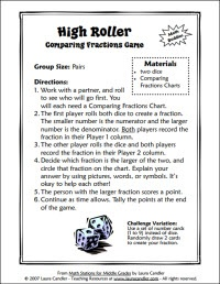 High Roller math game for comparing fractions (partner activity): High Rollers, Partners Activities, Math Games, Fractions Partners, Fractions Games, Math Ideas, Rollers Math, Math Stations, Compare Fractions