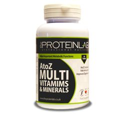 The Protein Lab A to Z Multivitamins and Minerals One A Day - UK Manufactured Multivitamin and mineral supplements are perhaps the most important food supplement that can be consumed by anyone, including busy men and women, bodybuilders and athletes. Protein Lab Multi Vitamins enable you to get a vast and complex set of vital nutrients in addition to your diet.