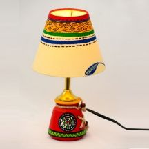 Exclusivelane 10 Inch Terracotta Warli Handpainted Baby Lamp Red - Lighting N Lamps By Exclusivelane