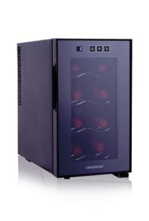 Elegante vinoteca de 8 botellas de capacidad fabricada por Cavanova con termo eléctrico y display digital electrónico. La vinoteca funciona sin compresor evitando la fatiga del vino y lo convierte en un climatizador muy silencioso. La puerta tiene cristal doble protegido de los rayos UV y tiene una luz interior para iluminar las botellas, €141,99